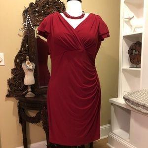 Lauren Ralph Lauren - Red V-Neck Dress